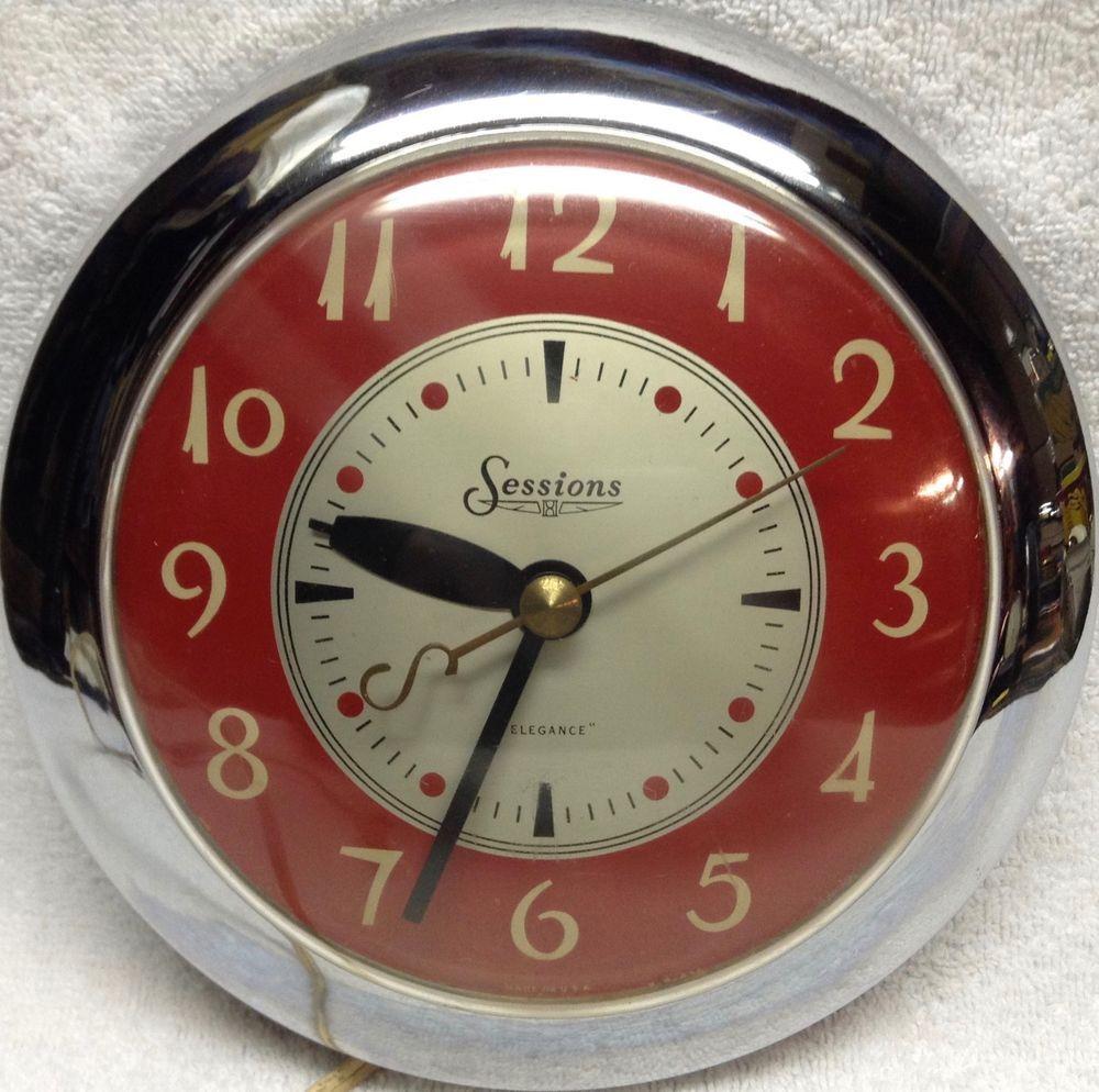 Vintage Sessions Elegance Red Chrome Wall Clock Mid Century Art Deco 1950 S Clock Vintage Trucks Chrome Wall Clock