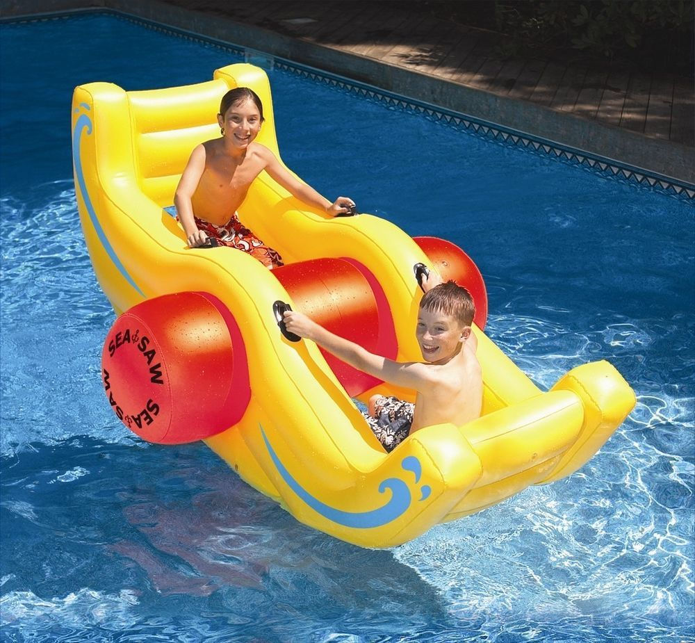Inflatable Pool Float For Kids Rocker Raft Lounger Floating Swimming Toys Tube