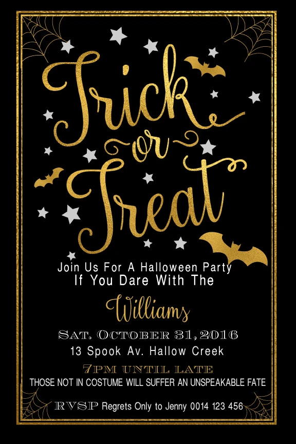 Trick or Treat in 2020 Party invite template, Halloween