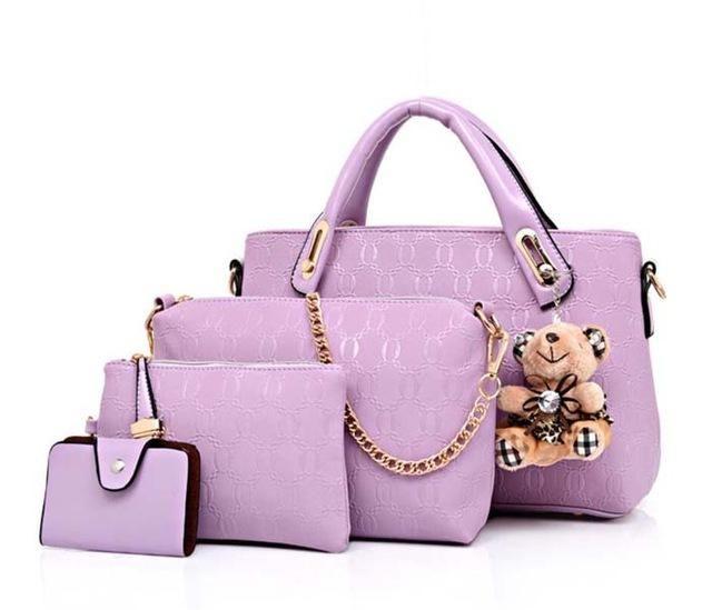 7e374548e8bf2 Famous Brand Women Bag Brand 2017 Fashion Women Messenger Bags Handbags PU  Leather Female Bag 4 piece Set XP659