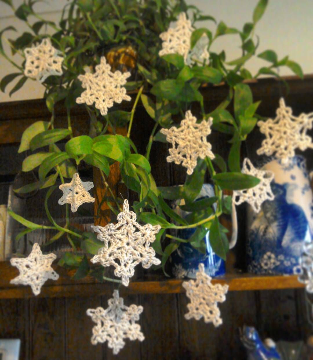Afternoon IG. Grey old day here, so I've dug out the decorations. Maybe a little brandy, some Christmas tunes and make a start! Made these snowflakes last year. Hope you are having a great Saturday 🌟  #crochet #crochetsnowflake #crochetchristmas #blingupthehouseplants