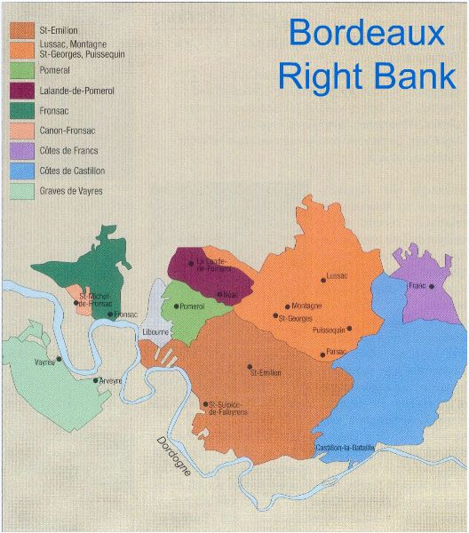 Map of Bordeaux Right Bank AOC and Communes Level Wines: Saint ... St Emilion Map on rheinhessen map, chinon map, st julien bordeaux france map, st nazaire map, pauillac map, margaux map,