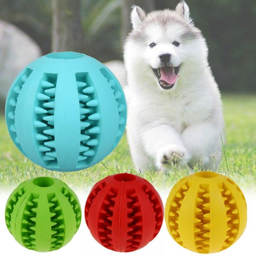 Pet Dog Cat Rubber Ball Chew Treat Cleaning Training Interactive