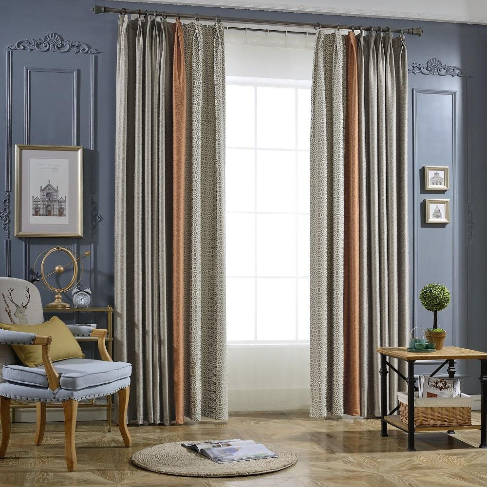 A701 Grey Orange Geometric Pattern 3 In 1 Window Curtain Panel
