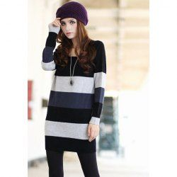 Casual Style V-Neck Plus Size Stripe Long Sleeve Knit Long Sweater For Women (BLACK,2XL) China Wholesale - Sammydress.com
