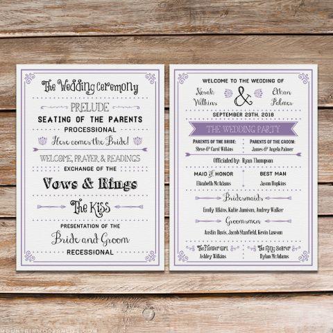 free printable wedding program template
