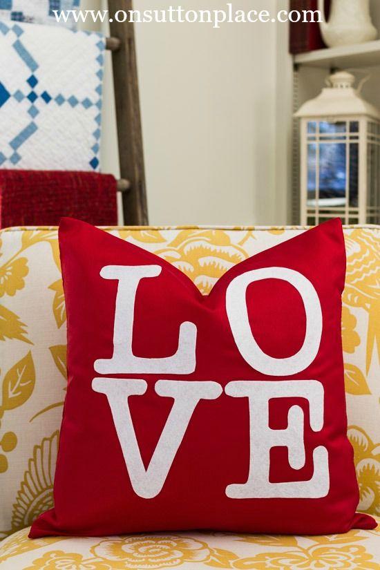 DIY No Sew Valentine LOVE Pillow Cover & DIY No Sew Valentine LOVE Pillow Cover | Letter templates ... pillowsntoast.com