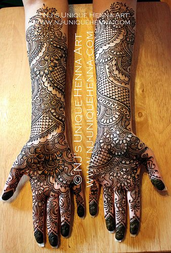 13 Unique Henna Designs Doing The Rounds This Wessing: Nada's Bridal Henna 2013 © NJ's Unique Henna Art