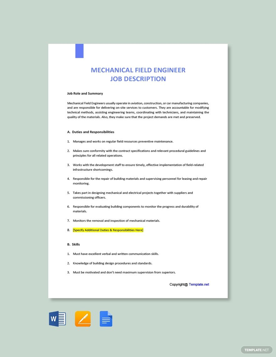 Free Mechanical Field Engineer Job Description Jobs For Teachers Job Description Cover Letter Template