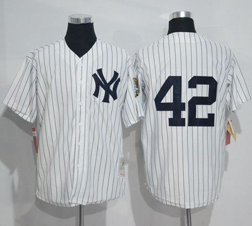 best sneakers d70de 5efcf Mitchell And Ness Yankees #42 Mariano Rivera White Strip ...