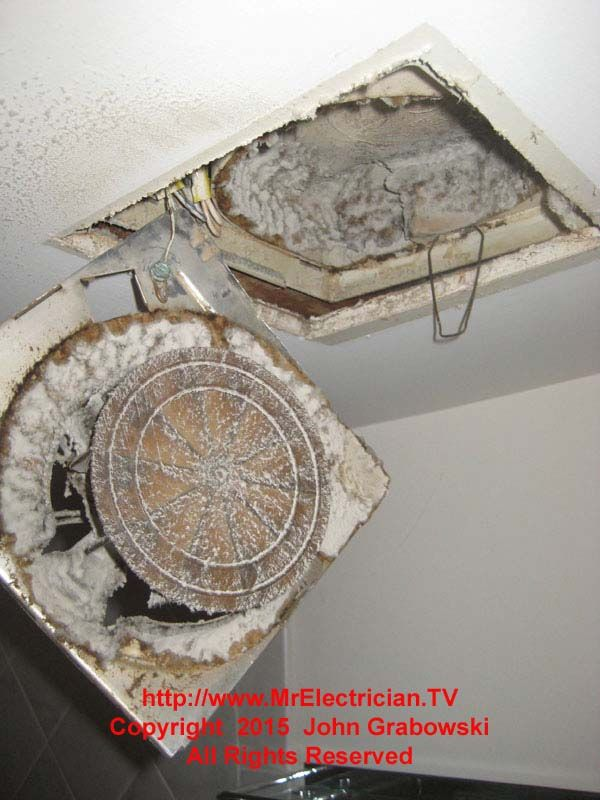 This bathroom exhaust fan has probably never been cleaned ...