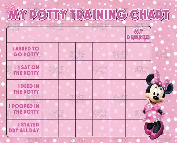 Digital minnie mouse potty training chart free punch cards disney