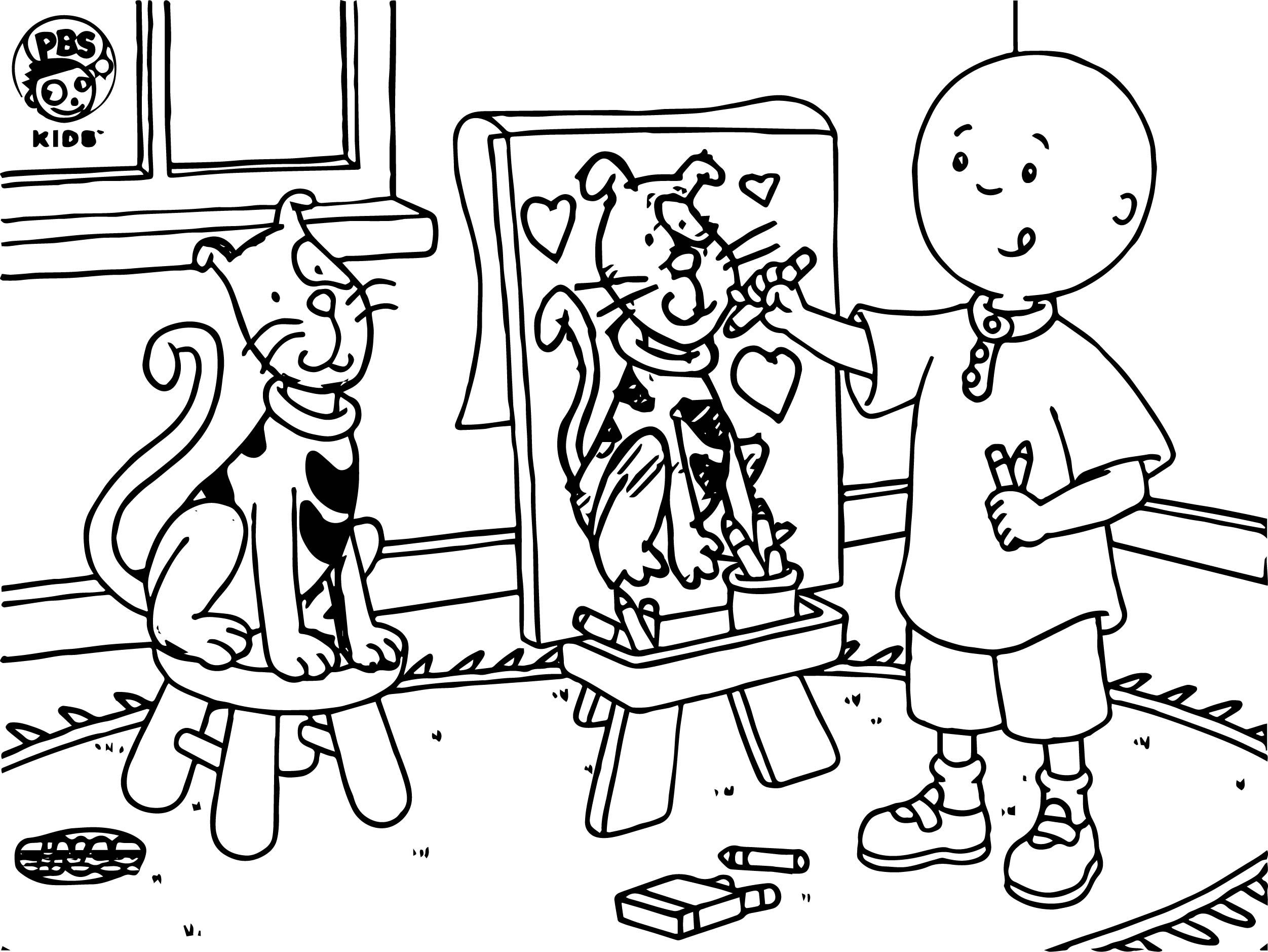 Cool Caillou Painting Cat Coloring Page Cat Coloring Page Coloring Pages Pumpkin Coloring Pages