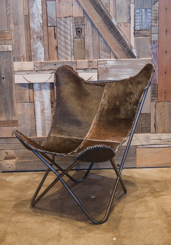 Estancia Chocolate Butterfly Hide Chair Dekor
