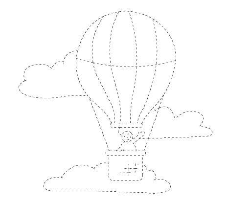Uçan Balon çizgi çalışması Okul öncesi çocuklar Için Güzel Bir