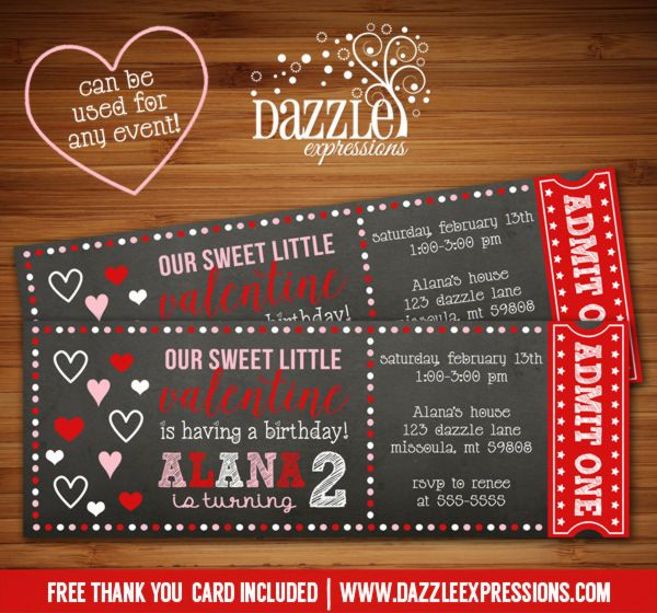 Printable Valentines Day Chalkboard Ticket Birthday Invitation - free printable event tickets