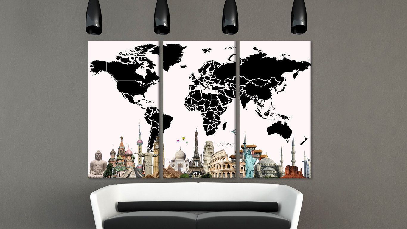 Custom world map unique world map black and white wall art wood art custom world map unique world map black and white wall art wood art panel wonders of gumiabroncs Gallery