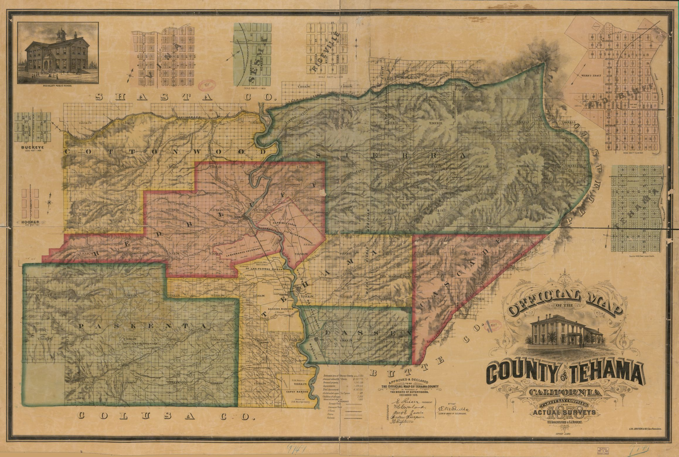 Official 1878 Tehama County Map, with plotted surveys