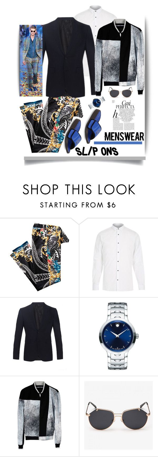 """""""Menswear: Slip-Ons '"""" by dianefantasy ❤ liked on Polyvore featuring River Island, Burberry, Movado, Kenzo, Polo Ralph Lauren, Whiteley, men's fashion, menswear, slipons and polyvoreeditorial"""