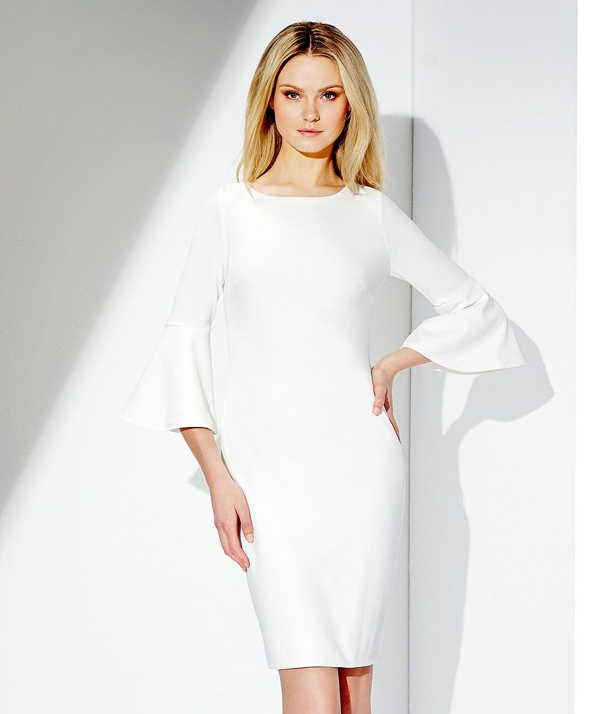 Calvin Klein Bell Sleeve Sheath Dress | Dillards, Clothing ...