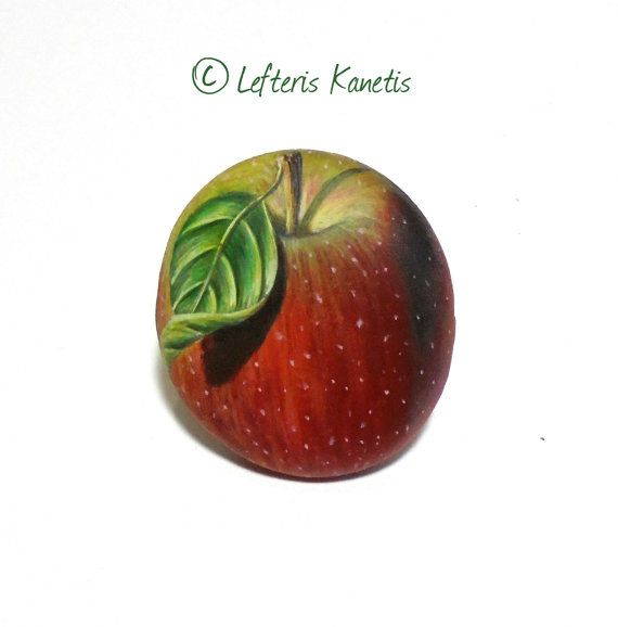 Small Red Apple Painted Pebble Fridge Magnet ! Painted with high quality Acrylic paints and finished with Glossy varnish protection.