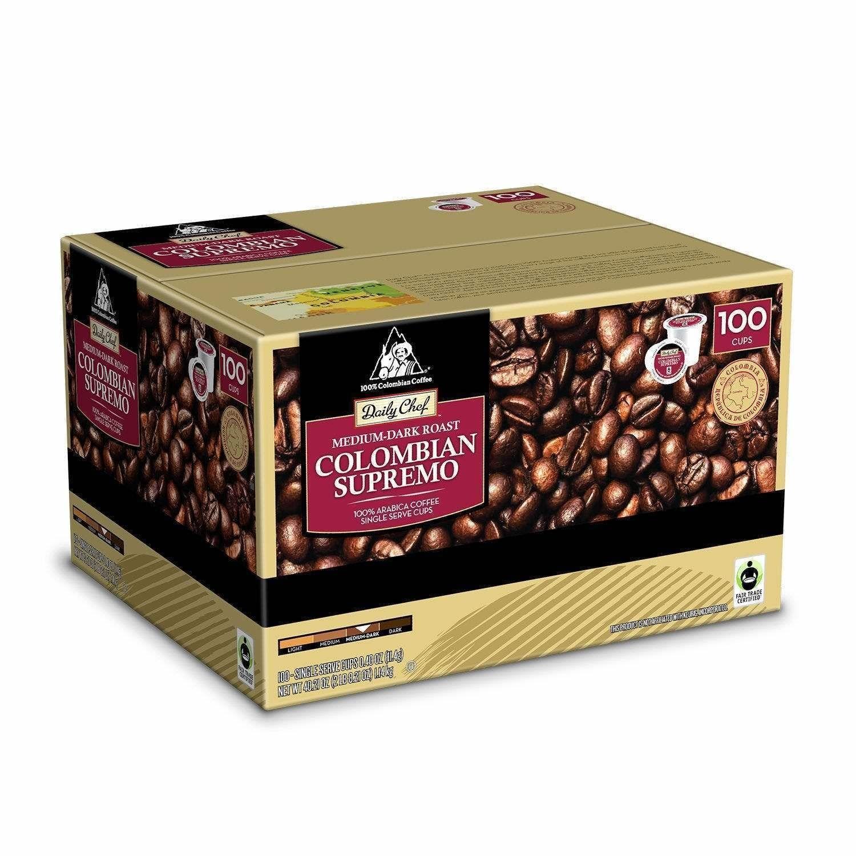 Daily Chef Colombian Supremo Keurig 100 K Cups Medium Dark Roast Coffee Bulk Dark Roast Coffee Dark Roast Drinking Tea