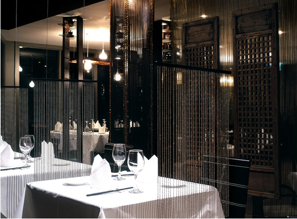 restaurant design cha by architects eat bead curtain dividers - Beaded Inset Restaurant Interior