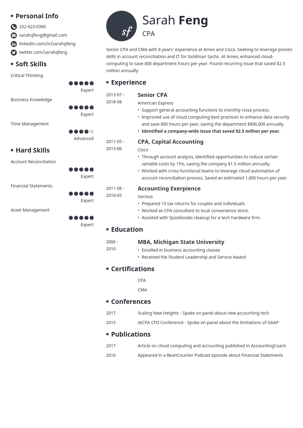 accounting resume example template initials in 2020