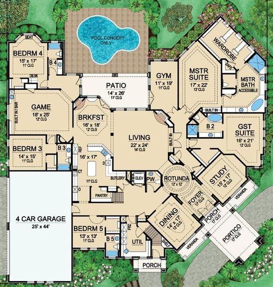 House Plan 5445 00183 Luxury Plan 7 670 Square Feet 5 Bedrooms 6 5 Bathrooms Luxury Ranch House Plans House Blueprints Vista House
