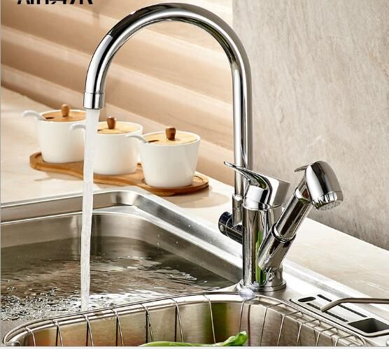 New Arrivals Kitchen Faucet With Pull Out Hand Shower Head Brass