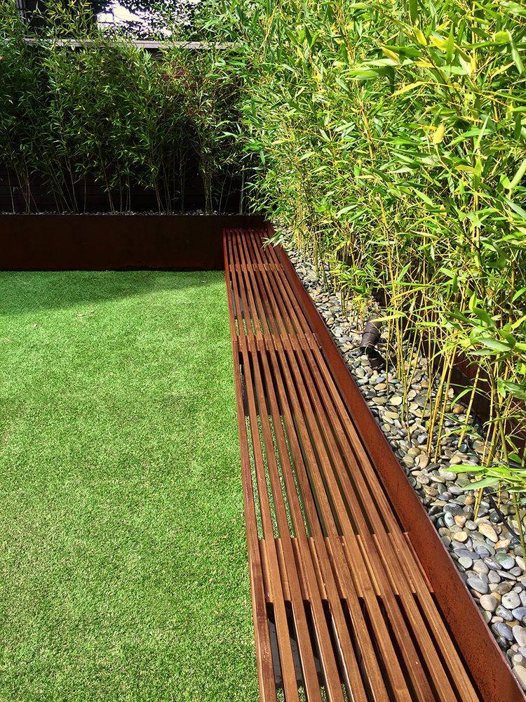Brooklyn Backyard Bamboo Zen Urban Garden Corten Steel Ipe Fence