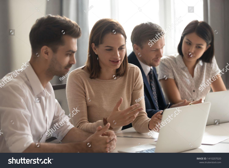 Female manager mentor teach help male intern trainee new employee explain online  Female manager mentor teach help male intern trainee new employee explain online
