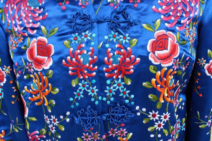 Closeup of the vintage embroidered jacket I scored for $7.50.  My best vintage find ever.