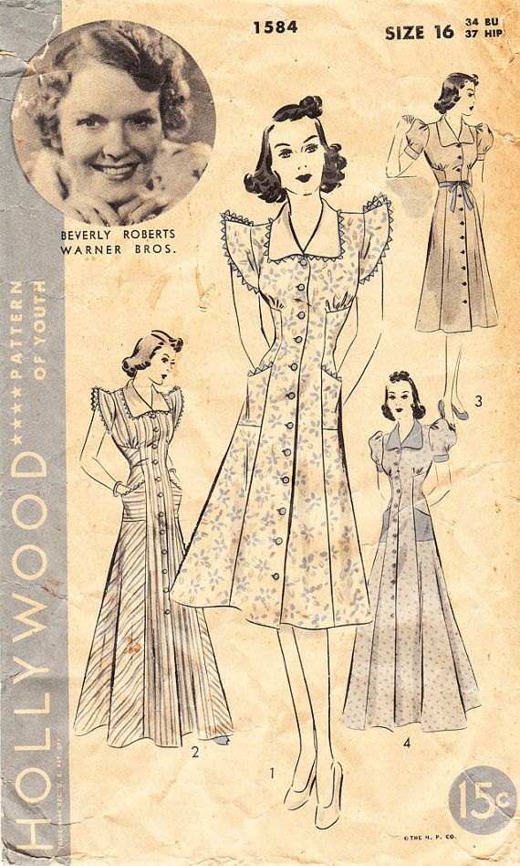 1940s Vintage HOLLYWOOD Sewing Pattern No. 5524