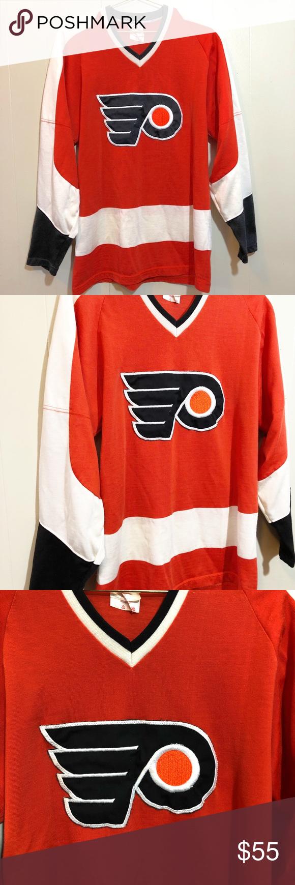 Vintage Philadelphia Flyers Sporting Knit Jersey Vintage Sandow Sporting Knit Philadelphia Flyers Hockey Jersey Shirt Tagged M Knit Jersey Jersey Jersey Shirt