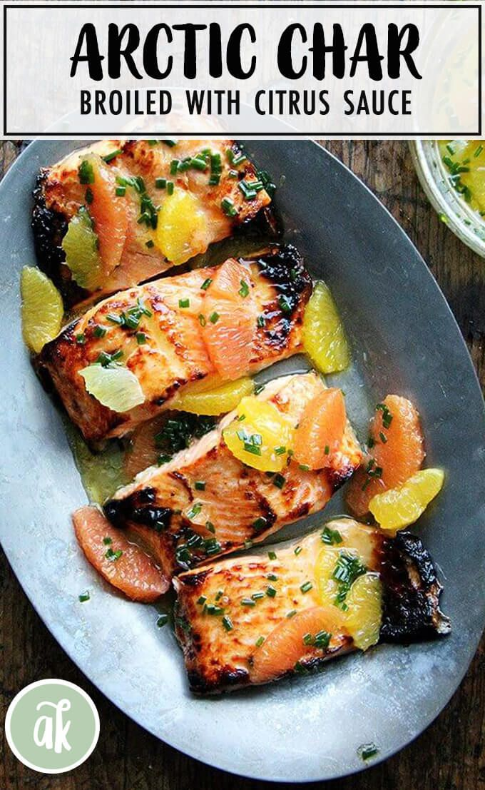 Broiled citrus-honey Arctic Char: refreshing and delicious! Arctic char has a mild flavor, is thin, and cooks quickly. The sauce, which can be used on any fish, is essentially a mix of various citrus fruits + olive oil + chives. I love using Cara Cara oranges for their sweet flavor and pretty hue. #arcticchar #citrus #broiled #sauce #simple #fish