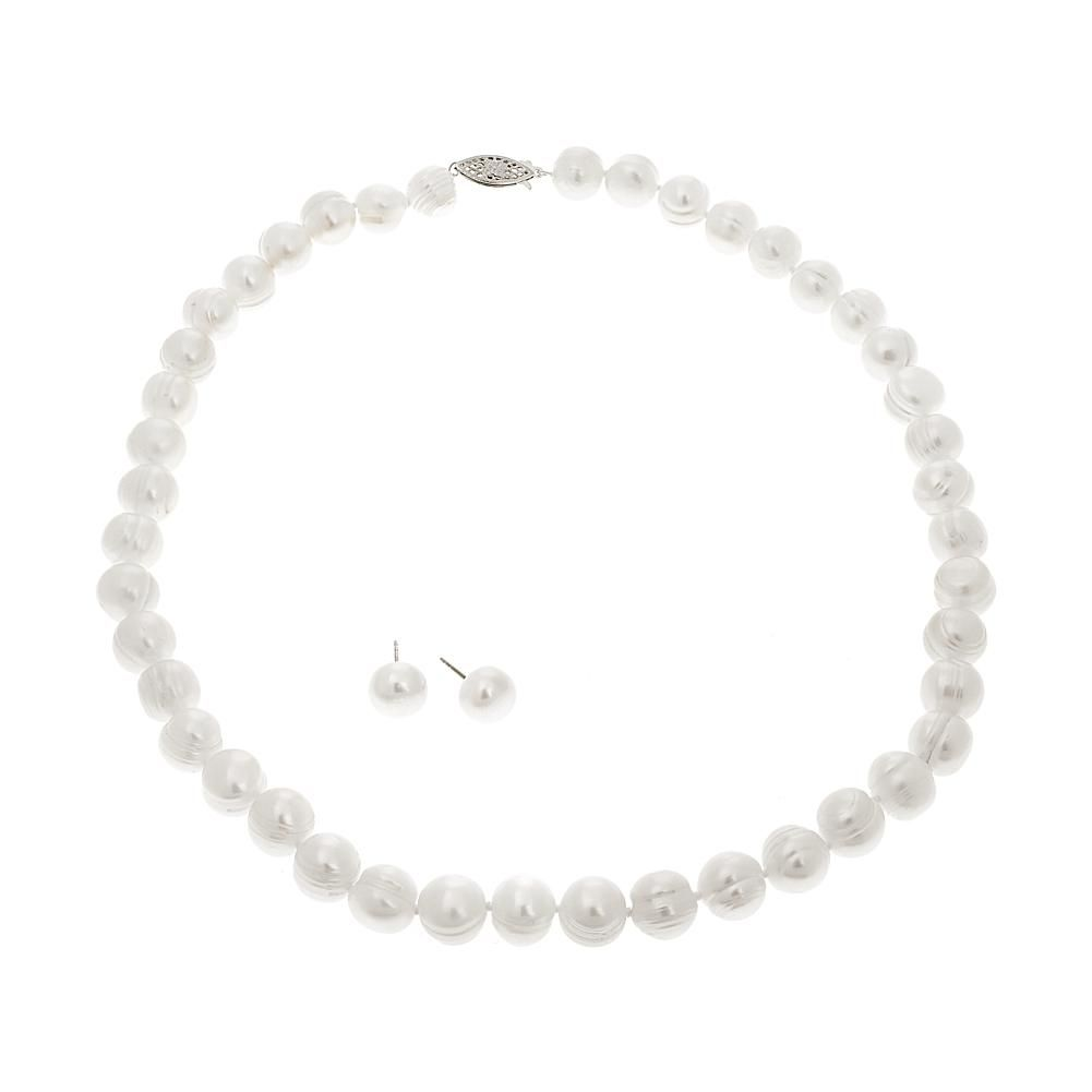 Fine Jewelry Cultured Freshwater Pearl & Lavender Lab Created Crystal Bead Sterling Silver Jewelry Set V9sSj
