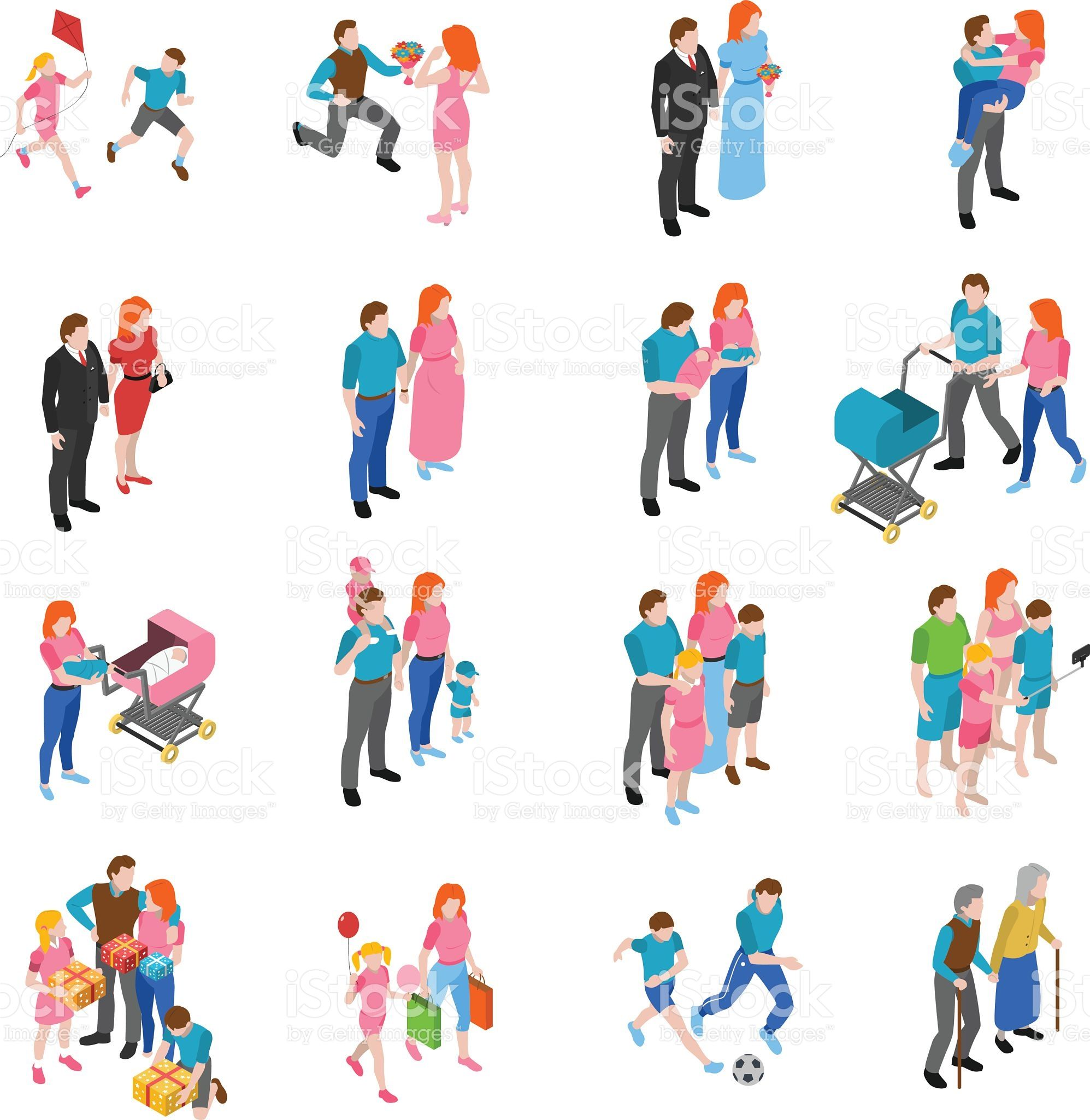 Family Relations Isometric Icons Set With Engagement Marriage