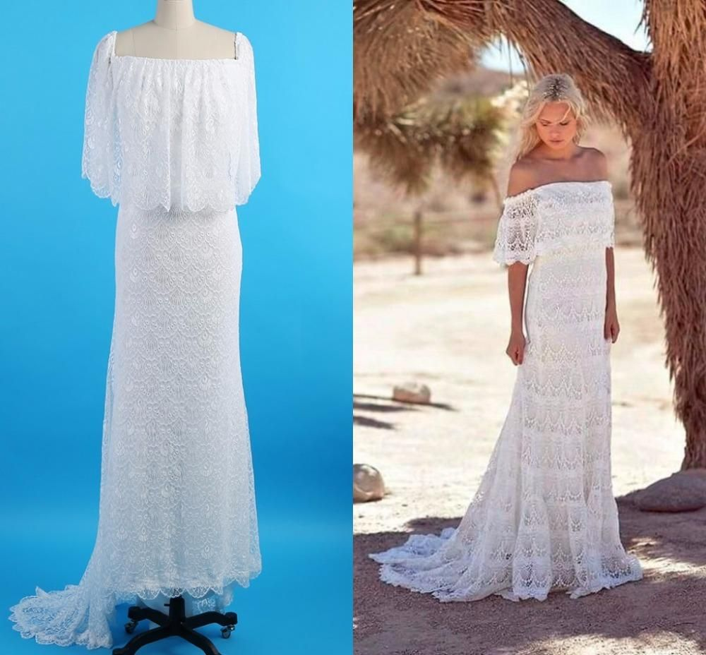 Simple full lace country boho wedding dresses off the shoulder cheap