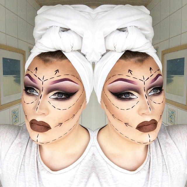 """""""She can't possibly have any work done without her face on. #drag #dragmakeup…"""