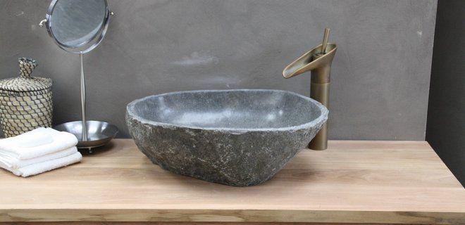 Mooi voor de badkamer: waskommen van natuursteen   Badkamer/toilet ...