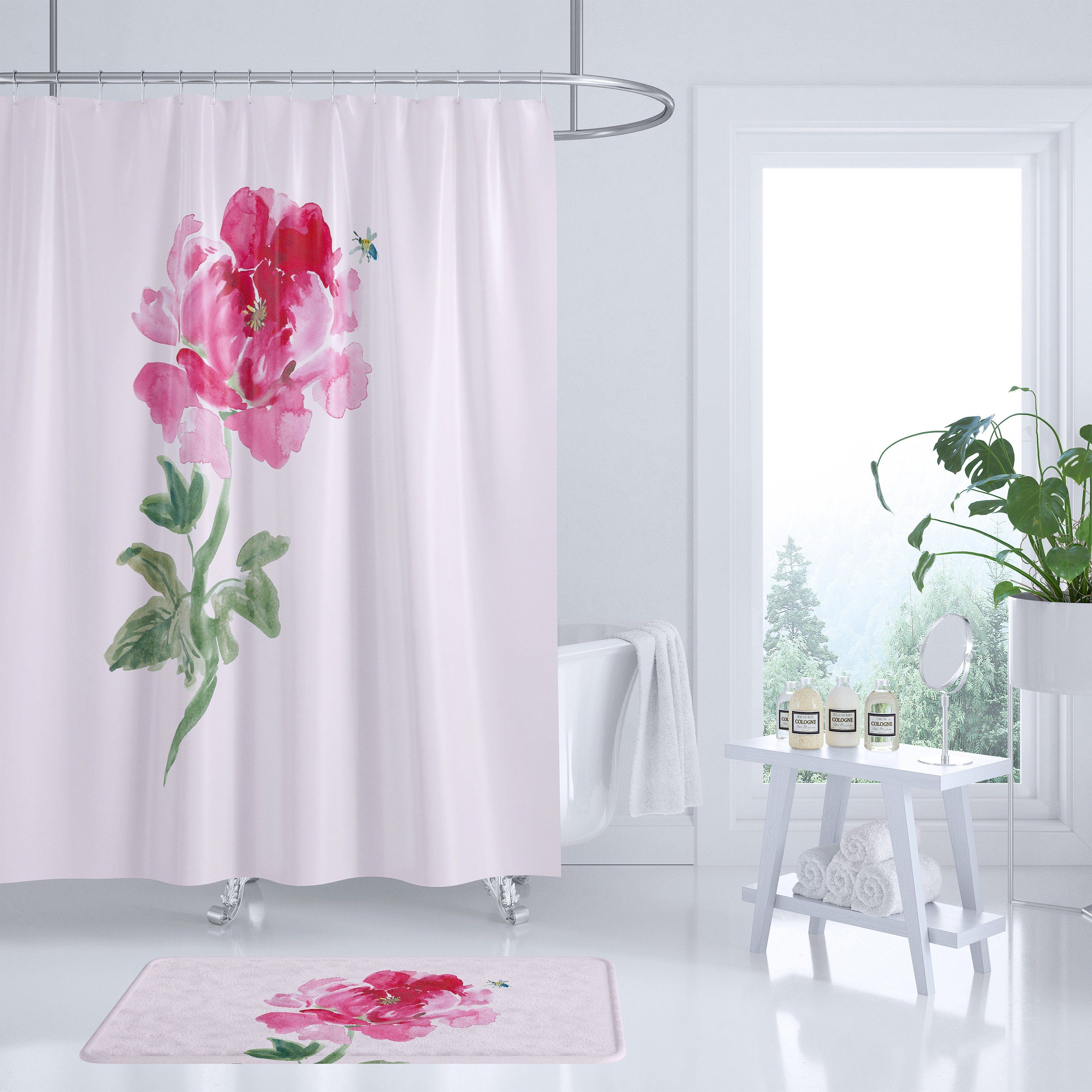 Peony Shower Curtain Pink Floral Fabric Watercolor Flower