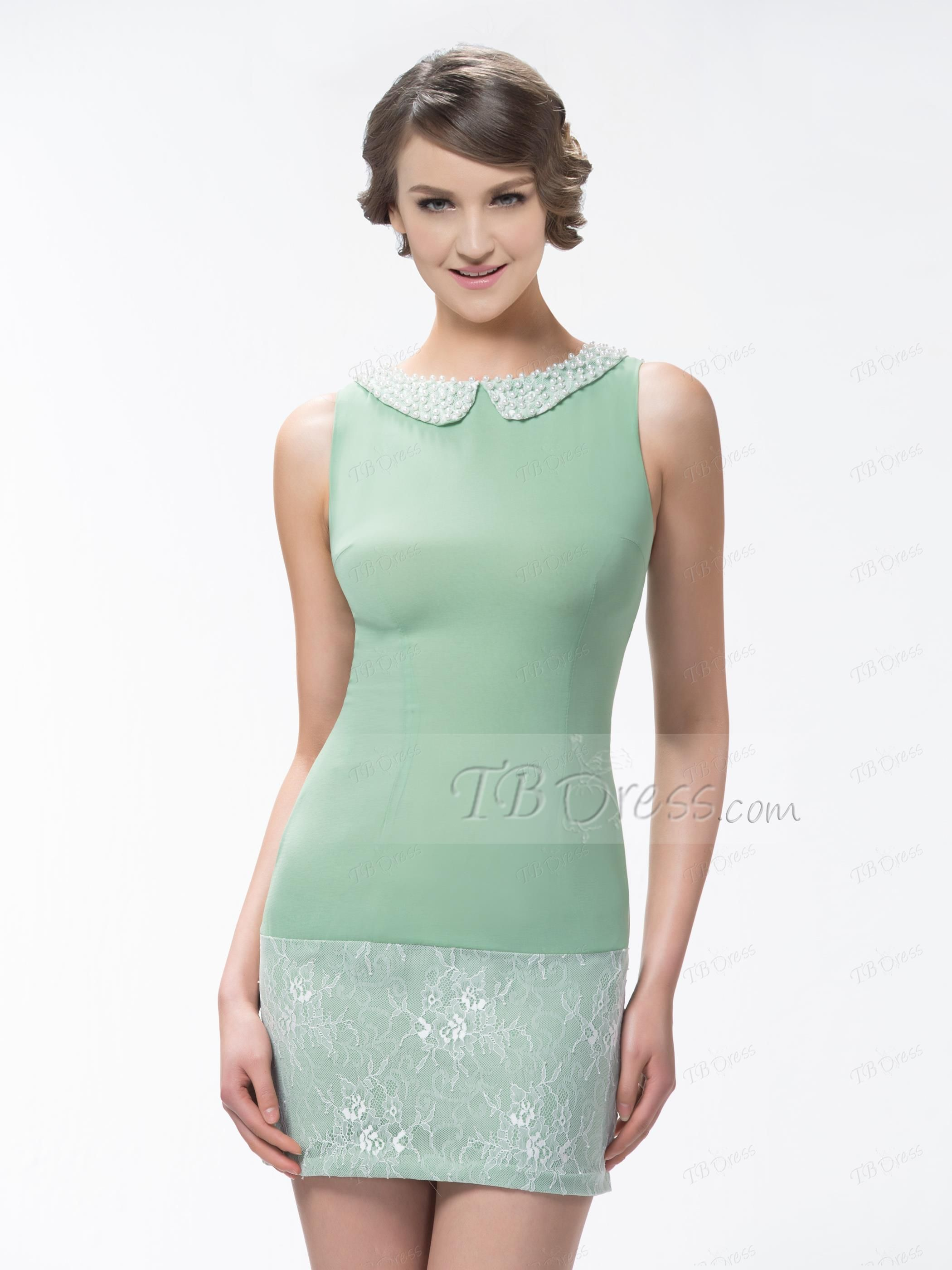 007a4298 TBDress.com Cute Scoop Sheath Short/Mini Pearl Lace Bridesmaid DressItem  Code: 10891327 4+ shades of purple