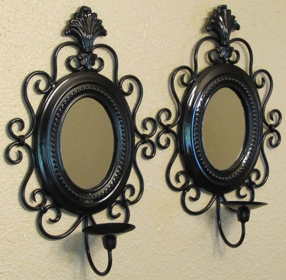 Black Wall Candle Holders pair of glossy black ornate candle holder, wall candle holder