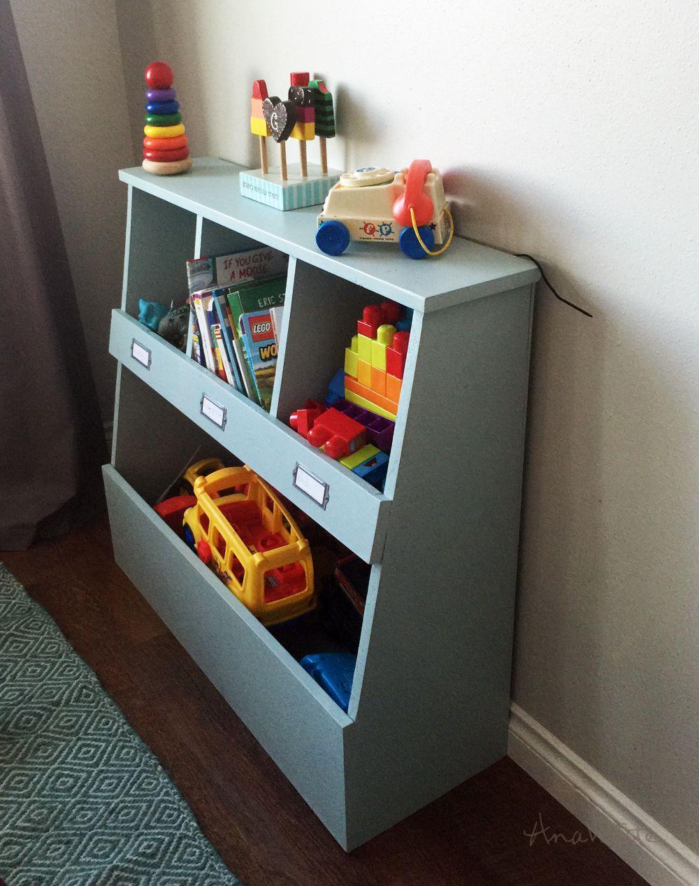 Toy Bin Box With Cubby Shelves Diy Toy Storage Toy Storage Bins