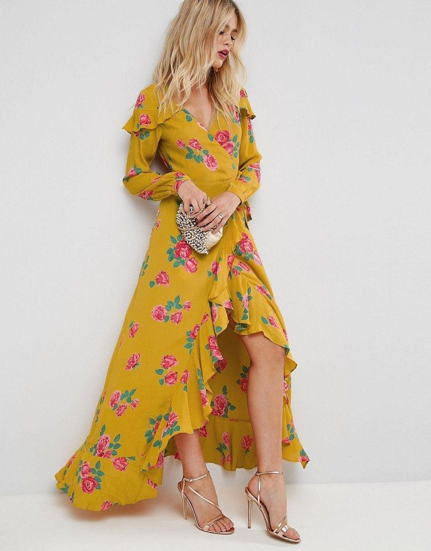 8ac5a70bd625 ASOS Long Sleeve Wrap Maxi Dress in Bold Floral - Multi | Building ...