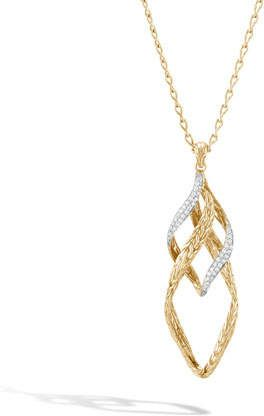 John Hardy 18k Classic Chain Wave Twist-Link Pendant Necklace w/ Diamond Trim XiK7mn