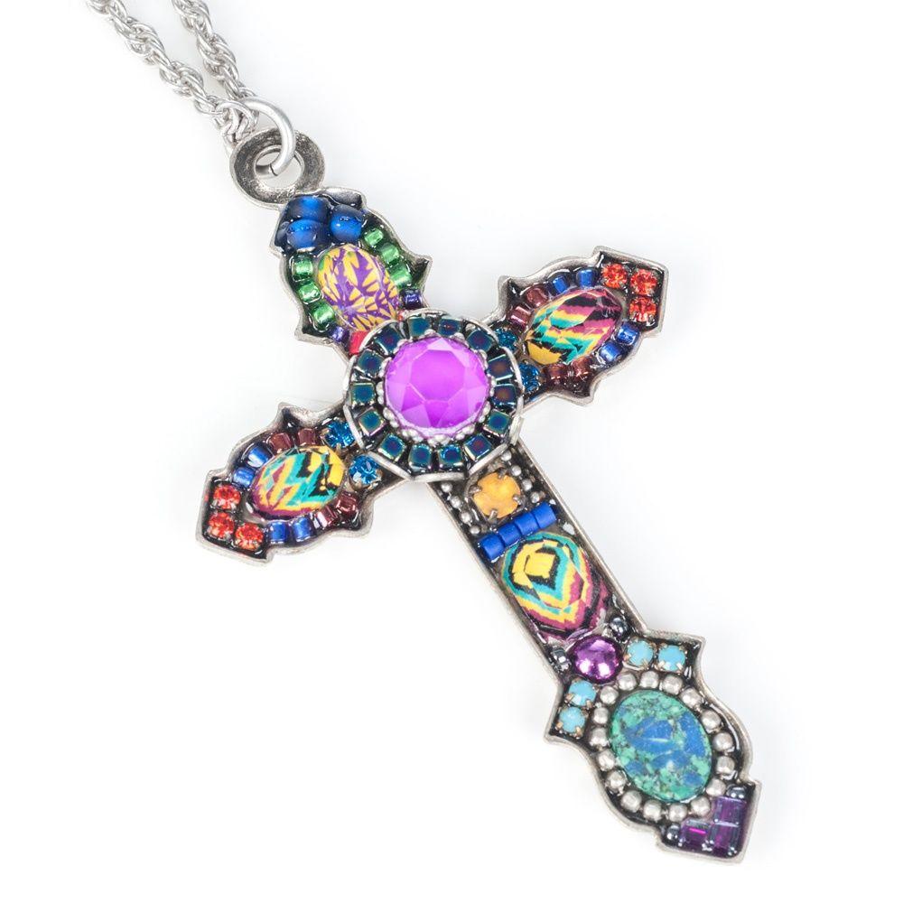 Cross Necklace Purple Bead Cross Jewelry Bar Jewelry Cross Pendant