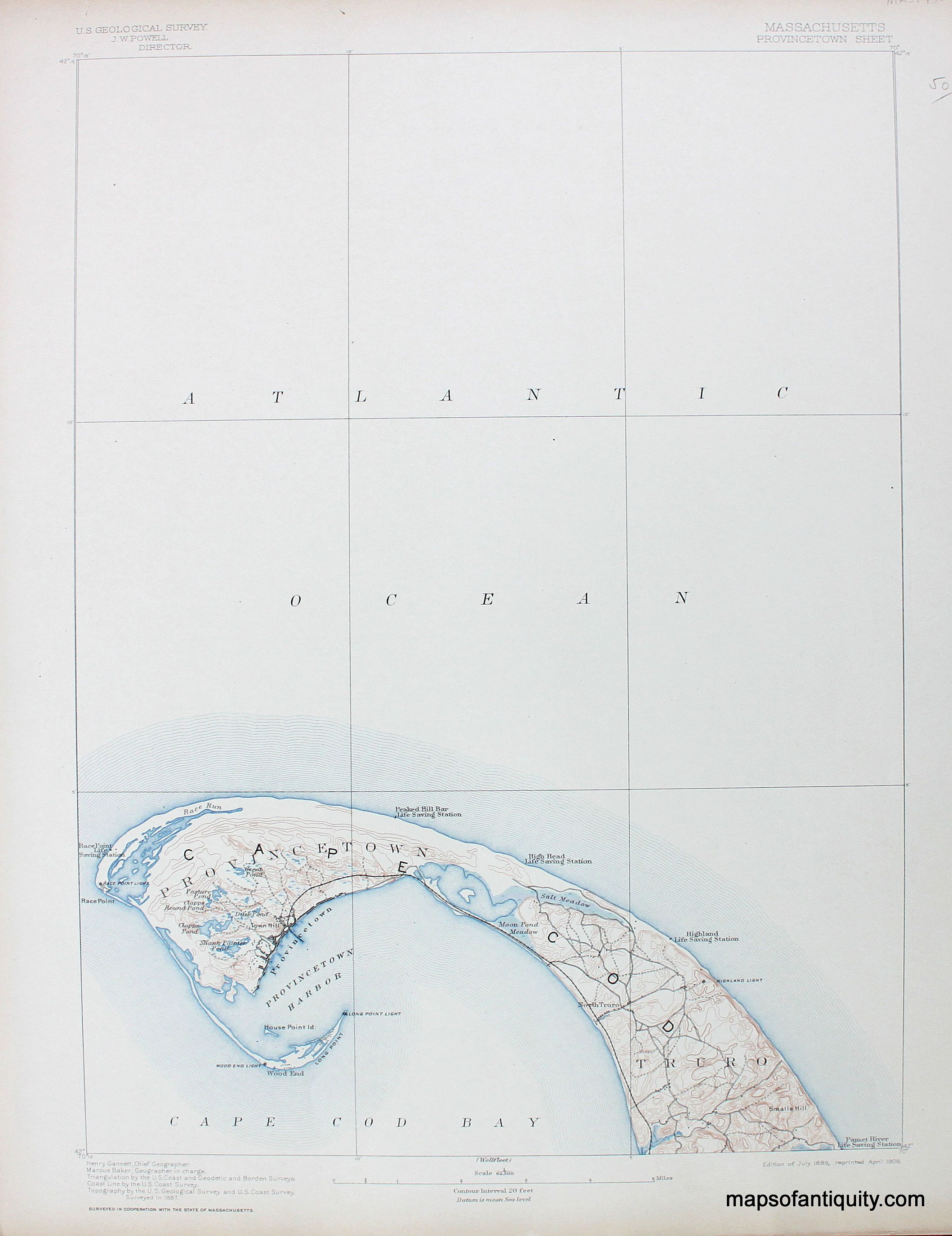 MA Provincetown sheet, antique topo map - Antique Maps and