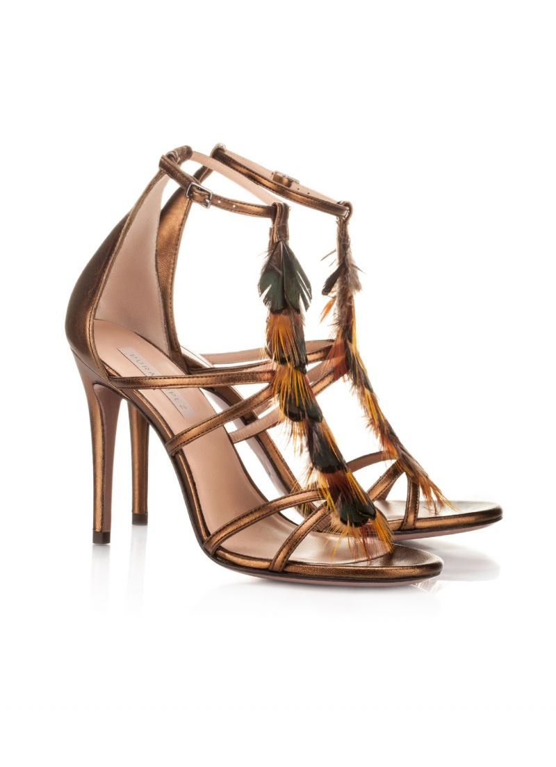 29f4dd9cc1 Pura Lopez Farisha- High heel sandals by Pura Lopez in bronze metallic  leather. Green-gold peacock feather detail. Ankle strap with adjustable  side buckle ...